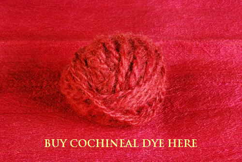 Cochineal-dyed handspun wool on cochineal dyed silk